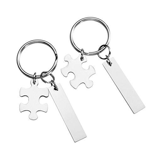 BOPREINA Personalized Gravur 2 Stücke Edelstahl Puzzle + Rechteckig Schlüsselanhänger Partner Paare Liebe Freundschaft Schlüsselbund Schlüsselring Keychain, Silber (mit Gravur)