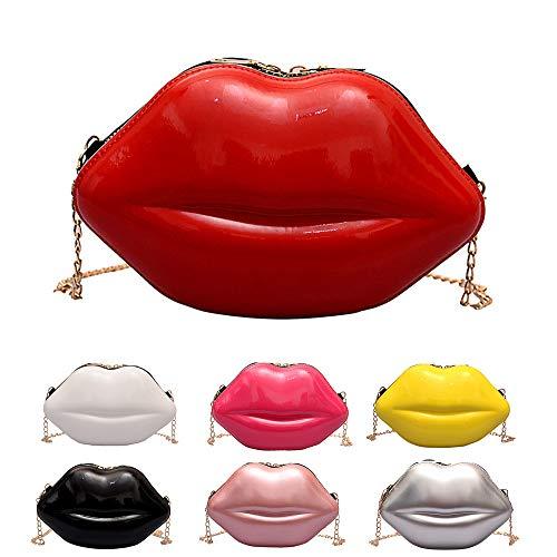 MOTZU Rote Sexy Lippen Handtaschen, PU Leder Clutch Hochzeit Clutch Handtasche, Bridal Tasche, Umhängetasche Kettentasche, Geldbeutel Portemonnaie Abendtasche Damen Clutch Für Party Abschlussball