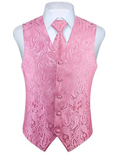 Enlision Chaleco floral para hombre Jacquard Corbata de boda y bolsillo Conjunto de traje de chaleco cuadrado
