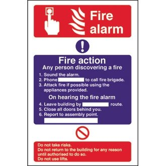 treues cc926 Fire Alarm/Fire Action, 300 mm x 200 mm x 200 mm, selbstklebend