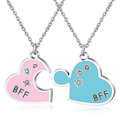 Best Friend BFF Collares a juego con colgante de corazón, regalo de amistad de cumpleaños para 2 niñas hija
