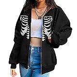 Amirty Women's Y2K Vintage Graphic Zip Up Hoodie Skeleton Loose Fit Oversized Jacket Long Sleeve Punk Goth Butterfly Sweatshirt (F#Black, Medium)