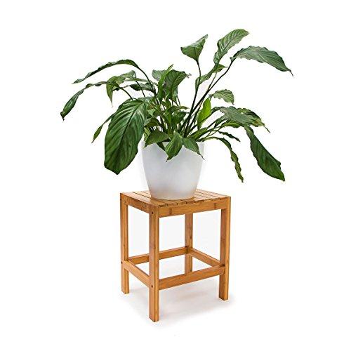Relaxdays Bambushocker H x B x T: 40 x 28 x 32 cm Badhocker aus hochwertigem Holz als universelles und dekoratives Accessoire als praktischer Beistelltisch und Blumenhocker für Ihre Wohnung, natur