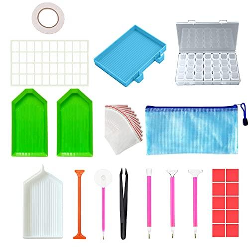 LUKIUP 44 Piezas DIY Diamante de Pintura Herramientas,Diamantes 5d Kit Completo con Kits de Caja de Almacenamiento de 28 Compartimento,Bordado de Diamante Para Arte para Adultos o Niños