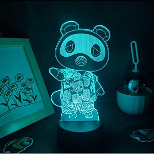 Lámpara 3D Anime Animal Crossing 7 Colores Led Luz Nocturna Hogar Dormitorio Decoración Luz Nocturna Lámpara De Mesa Regalo Acrílico Lámpara De Ilusión Óptica