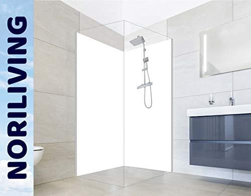 NORILIVING Duschrückwand Fliesenersatz Dusche 100x200 cm PVC Weiß | Duschwand ohne Bohren 2 teilig | Wandverkleidung Kunststoff Bad Wandpaneele PVC 2mm