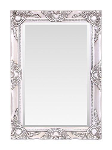 Espejo de Pared de Madera, diseño Vintage francés, Estilo Rococo Barroco, 50 cm x 70 cm, decoración Elegante para el hogar, Plata Antigua, 50 x 70 cm