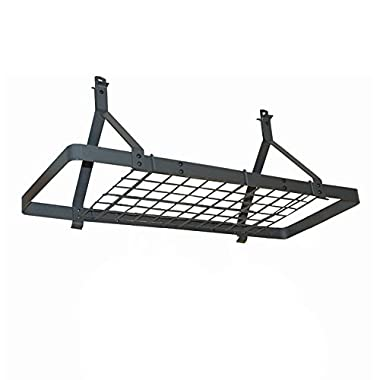 Rack It Up Rectangle Ceiling Pot Rack (Expandable) with 12 hooks, Steel Gray Hammertone