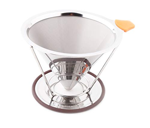LeafLoveLife - Premium Pour Over Coffee Filter - Standard 1-to-4 Set Cup Stainless Steel, Ultra-Fine Double Mesh Paperless Dripper Cone with Silicone, Dishwasher Safe