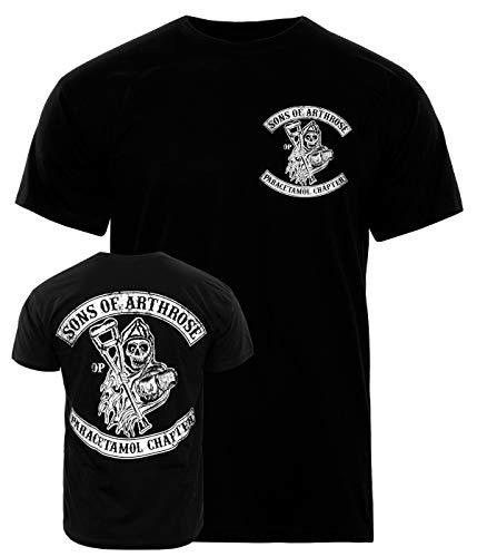 Sons Of Arthrose T-Shirt Paracetamol Chapter, für Herren, Biker-Shirt mit Front- & Backprint, 100{77094aa9578fea30983aaa5b0df7d068ffdc35ba551fcc12a6efe5644f9066f4} Baumwolle, Club-Shirt mit lustigem Spruch, lässiger Regular fit, Größe: L