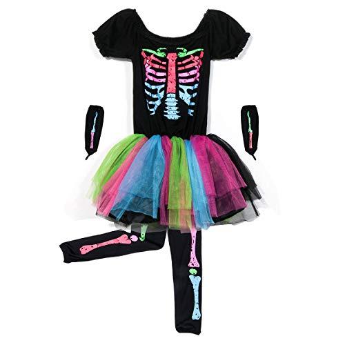 NUWIND Costume da Ossa Scheletro di Tween Neon Cranio Costume di Halloween Abito Arcobaleno (14)