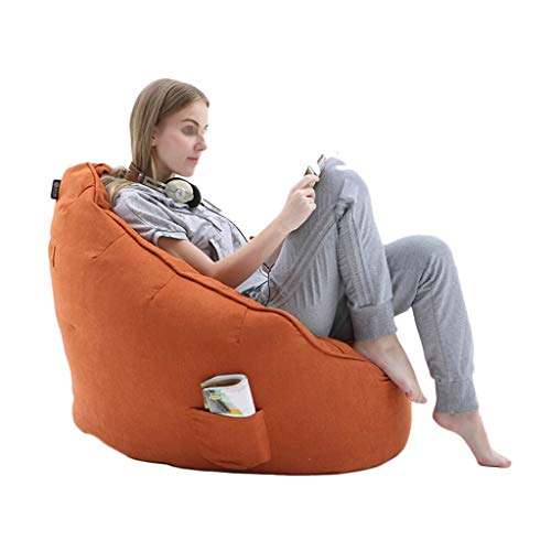 Bean Bag NLIAN Player Combo with Foot Stool, Lazy Lounger Home or Garden for Adults and Kids with EPP Particles Filling 76x65cm (Color : Orange)