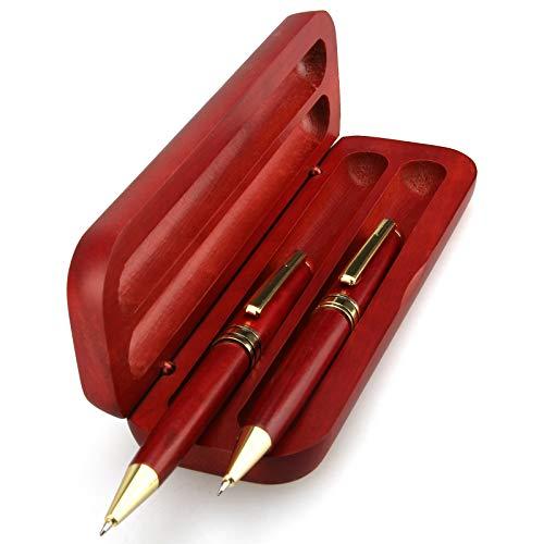2 Pcs Wooden Writing Pens Set with Pen Box and 4 Refills, 1 Nice Ballpoint Pen & 1 Designer Gel Pen Gift Business Pens Set