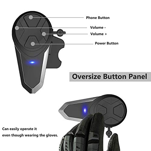 runhua 2 Pezzi BT-S3 Interfono Moto Bluetooth, Casco Interfono Moto, 1000M Casco Interfono Bluetooth Moto con Controllo del Rumore Avanzata, Moto Auricolare Bluetooth, per 2-3 Motociclisti