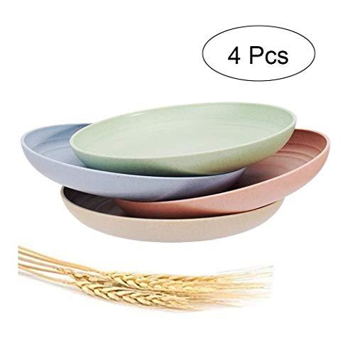 Weizenstroh Teller 4er Pack 7,8 Zoll Unzerbrechliche Teller, Geschirrspüler & Mikrowelle sicher BPA frei und gesund für Kinder Kinder Kleinkinder & Erwachsene
