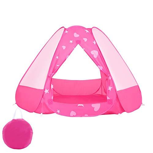OUTAD Tenda per Bambini Pop Up, Tenda da Gioco per Princess, Portatili Tenda Pieghevole per Bambini con Motivo Stampato e Borsa da Trasporto, per Interni ed Esterni (Rosa)