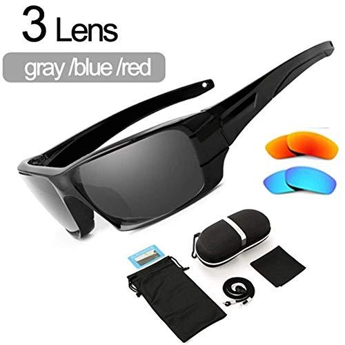 Pesca gafas polarizadas gafas de sol del marco del camuflaje de deporte Gafas de sol Gafas de pesca 400 lzpff (Color : 3 Lens Model B)
