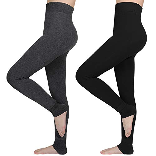 AIMTOP 2 Pack Leggins Termicos Mujer, Leggins Mujer Invierno Terciopelo Elástico Leggings Mujer Invierno, Mallas Termicas Mujer Pantalon Termico, Leggins Termicos (Negro + Gris)