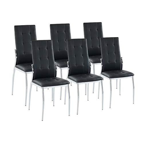 Juego de 6 sillas de comedor ALMA - En metal negro - L 46 x P 50 x H 100 cm