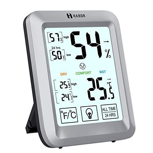 Habor Hygrometer Thermometer Innen, Raum Thermometer mit Hintergrundbeleuchtung, Touchscreen Luftfeuchtigkeitsmessgerät Innen Digitales Hygrometer Innen Hydrometer Feuchtigkeit für Babyraum, Büro, usw