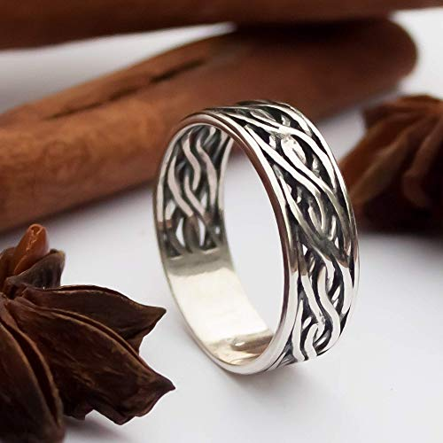 Celtic Knot Band Ring Solid Sterling Silver 925 Viking Wedding Promise Rings for Couple Braided Knotted Wave Stacking Thumb Bands Rings Norse Jewelry Gifts/Handmade
