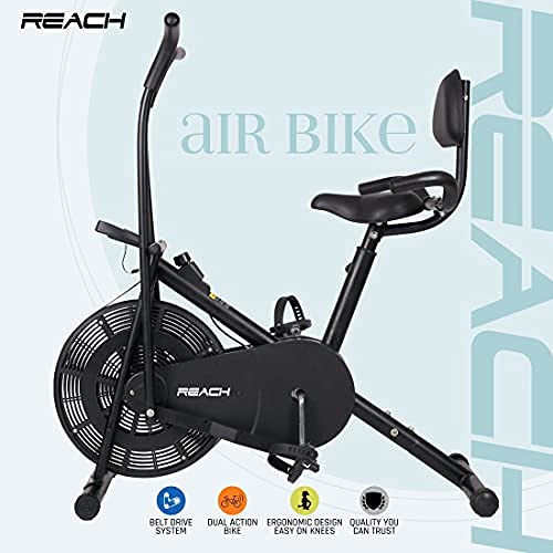 Reach Air Bike Exercise Cycle With Cushioned Back Support Seat and Side Handles For Support
