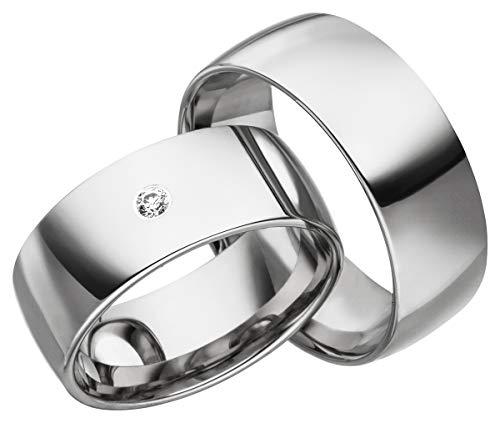 JC Trauringe 2 x Eheringe 925 Silber PAARPREIS inkl. Diamant und Gravur Ehe-ringe Verlobungs-ringe Brillant Heiraten Wedding Rings Partnerringe Platin Gold Weißgold S068