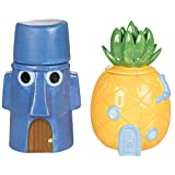 SpongeBob Squarepants Storage Jar Canister Containers, Set of 2 - SpongeBob's Pineapple & Squidward's Easter Island Home - Ceramic