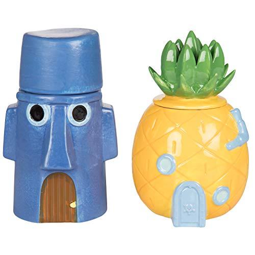 SpongeBob Squarepants Storage Jar Canister Containers, Set of 2 - SpongeBob's Pineapple & Squidward's Easter Island Home - Ceramic