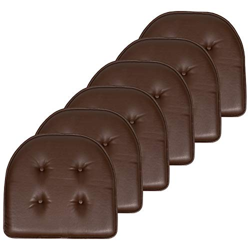 """Sweet Home Collection Chair Cushion Memory Foam Pads Tufted Slip Non Skid Rubber Back U-Shaped 17"""" x 16"""" Seat Cover, 6 Pack, Faux Leather Chocolate Brown 6 Count"""