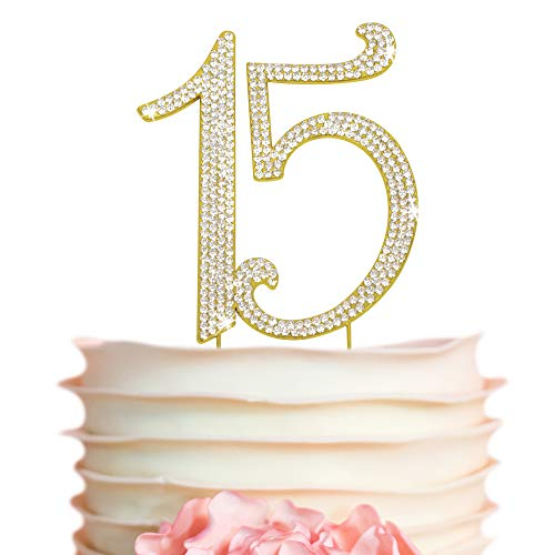 Premium Metal Gold Rhinestone Quinceañera, 15th Birthday Gem Cake Topper. Bday or Anniversary Party Keepsake and Decoration. Sparkly, Crystal and Diamond Style Bling is a Great Centerpiece 15 Gold