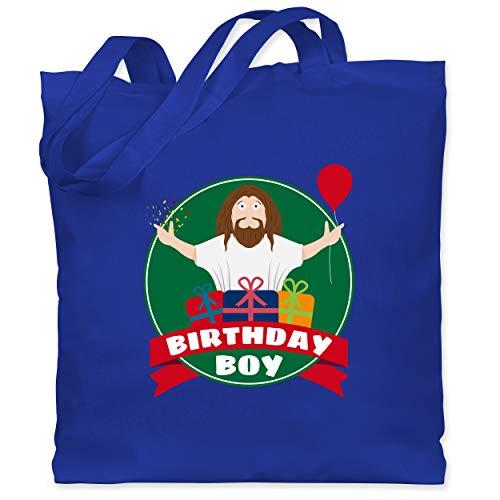 Weihnachten & Silvester - Ugly Christmas I Jesus Birthday Boy - Unisize - Royalblau - Geschenk - WM101 - Stoffbeutel aus Baumwolle Jutebeutel lange Henkel