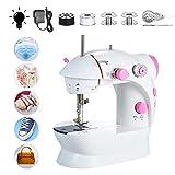 Fesjoy Mini máquina de coser Máquina de coser multifunción eléctrica portátil portátil de doble hilo de 2 velocidades
