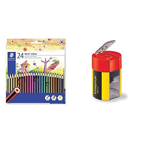 Staedtler Matite Colorate Noris Colour, Confezione Da 24 Colori Con Tonalita Differenti E Mine Resistenti In Wopex, 185 C24 & 511 004, Temperamatite Con Serbatoio