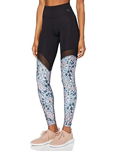 AURIQUE Damen Yoga-Leggings mit Mesh-Einsätzen, Mehrfarbig (Grob gemischtes Tier), 40, Label:L