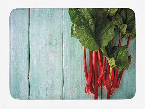 N / A Bunte Badematte, organische Rhabarberpflanze auf Holztisch Close Up Image Art Print, Plüsch-Badezimmerdekor-Matte mit Rutschfester Unterlage, Mandelgrün und Mehrfarbig