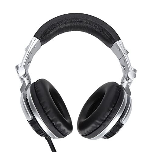 Audífonos con Cable, audífonos de Cubierta Completa, audífonos para Juegos, audífonos Plegables giratorios de Alta fidelidad, tecnología de Sonido Envolvente de Bajos, para Juegos de grabación(Plata)