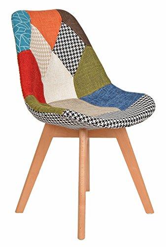 ts-ideen 1 x Patchwork Design Sessel Wohnzimmer Büro Stuhl Esszimmer Sitz Holz Stoff bunt