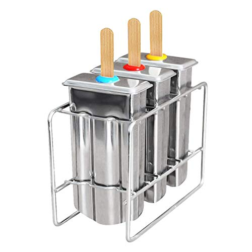 AKAMAS Eiswürfelform und -ständer, BPA-frei, EIS am Stiel, 3 Stück, wiederverwendbar, Edelstahl