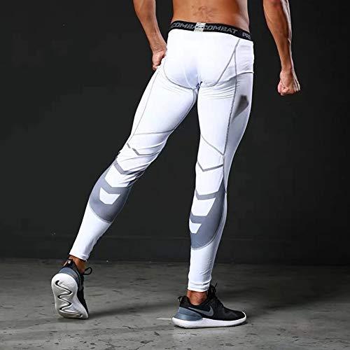 Alimagic Pantalones de compresión, Pantalones largos de correr, Mallas con de Compresión para Hombres para Running y Entrenamiento Tener efecto de compresión y función de secado rápido(Blanco Malla M)