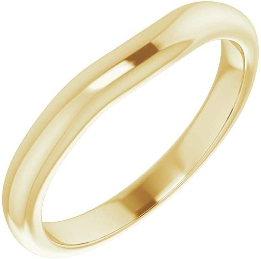 Max 63% OFF Solid 14K 35% OFF Yellow Gold Curved Notched x for Band Wedding 7.5