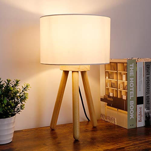 Albrillo Tischlampe aus Holz - Modern Stativ Tischleuchte mit Weiß Stoffschirm, Max. 40W E27 Birne und Holz Tripod, Dreibein Nachttischlampe mit Schalter drücken für Schlafzimmer, Wohnzimmer und Büro