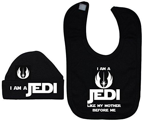 Je suis un Jedi comme MA Mère avant de Me Baby Bavoir et bonnet/Casquette 0 à 12 mois - Noir - XXS