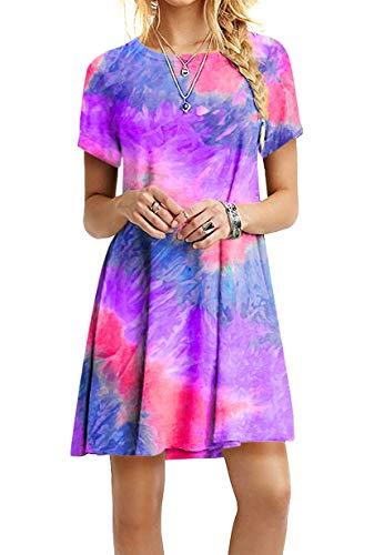 YMING Frauen Casual Blusenkeid Lose Kleid Rundhals Kleid Kurzarm Basic Sommerkleid ZR-Violett XXL/DE 44
