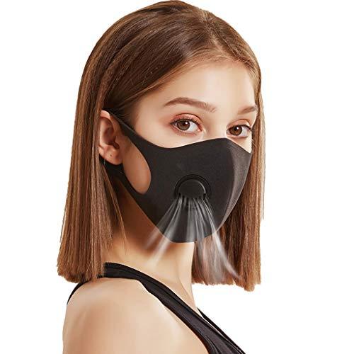 QingJiu Damen und Herren Staubschutz mit Atemventil Dreischichtig Schutz mit Filter Luftstaub Gegen Verschmutzung WaschbarWiederverwendbar (Schwarz, 5PCS+5Filter)