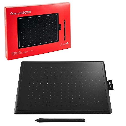 Wacom One by Wacom Small - Tableta gráfica con lápiz digital sensible a la presión, compatible con Windows, Mac y Chromebook, óptima para oficina en casa y e-learning, color negro y rojo