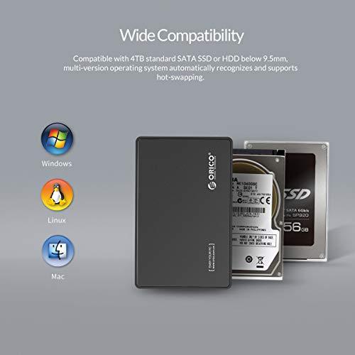 ORICO USB C Externes Festplattengehäuse 2,5'' USB 3.1 Gen 2 auf SATA III Bis zu 6Gbps Gehäuse für 2.5'' 9.5mm/7mm SATA SSD HDD Bis zu 4TB und Unterstützt UASP, Werkzeugfreier