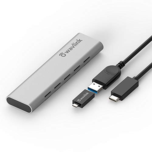 Wavlink USB C M.2 NVMe SSD-Gehäuse, USB 3.1 Gen 2 (10 Gbit/s) zu NVMe PCIe M.2 Festplatte-Gehäuse, unterstützt UASP für NVMe SSD Größe 2230/2242/2260/2280 (bis zu 2 TB), PCIe M-Key, Grau, Aluminium