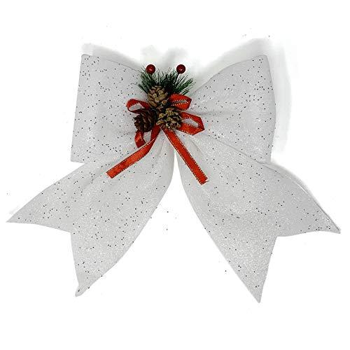 Allgala Christmas Decorative Bows for Wreath Garland Treetopper Christmas Tree (14' Jumbo White 2-PK)-XBW93047