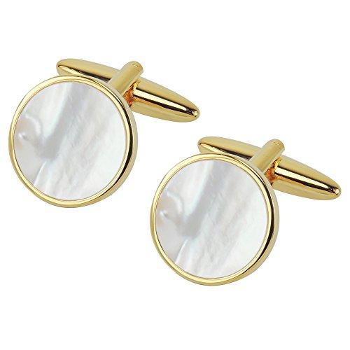 CUFF IT Gemelli da Uomo Madre di Pearl Rotonda Conchiglia per Matrimonio o per Affari con Confezione Regalo (oro, Argento)